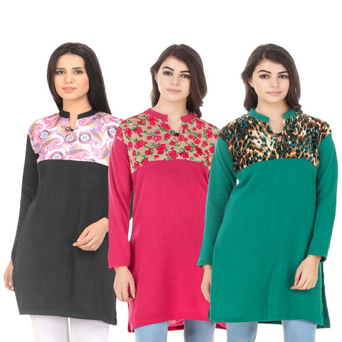 COMBOS-Multi Color Wool Stitched Kurtis - HKURTI-BLACK-DPINK-GREN