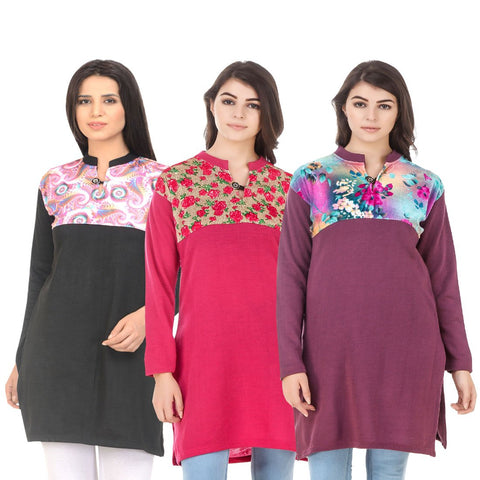 COMBOS-Multi Color Wool Stitched Kurtis - HKURTI-BLACK-DPINK-MARON
