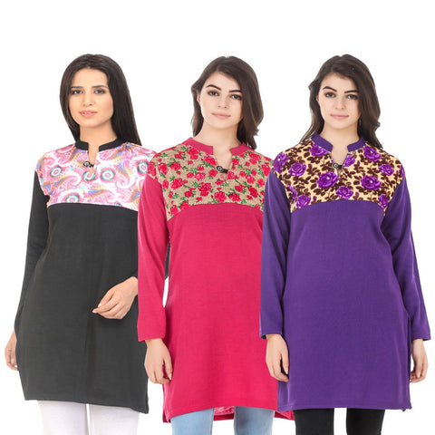 COMBOS-Multi Color Wool Stitched Kurtis - HKURTI-BLACK-DPINK-PURPLE