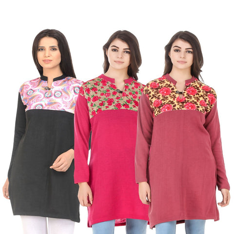 COMBOS-Multi Color Wool Stitched Kurtis - HKURTI-BLACK-DPINK-RED