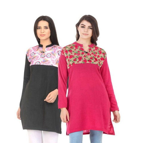 COMBOS-Multi Color Wool Stiched Kurtis - HKURTI-BLACK-DPINK