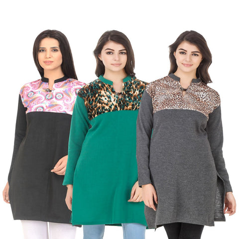 COMBOS-Multi Color Wool Stitched Kurtis - HKURTI-BLACK-GREN-DGRY