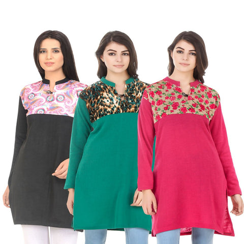 COMBOS-Multi Color Wool Stitched Kurtis - HKURTI-BLACK-GREN-DPINK
