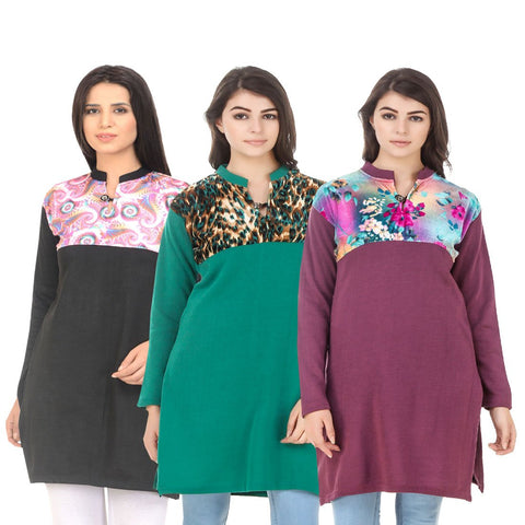 COMBOS-Multi Color Wool Stitched Kurtis - HKURTI-BLACK-GREN-MARON