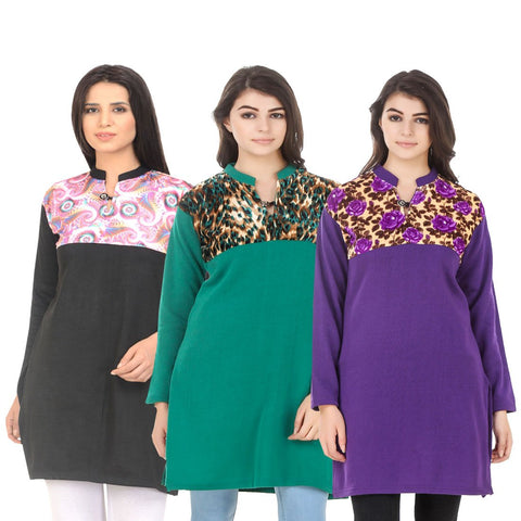 COMBOS-Multi Color Wool Stitched Kurtis - HKURTI-BLACK-GREN-PURPLE
