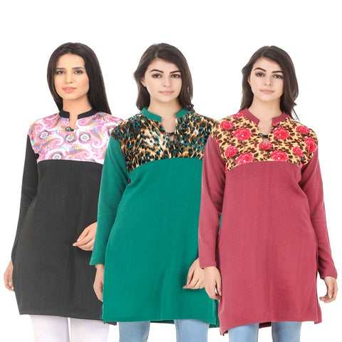 COMBOS-Multi Color Wool Stitched Kurtis - HKURTI-BLACK-GREN-RED