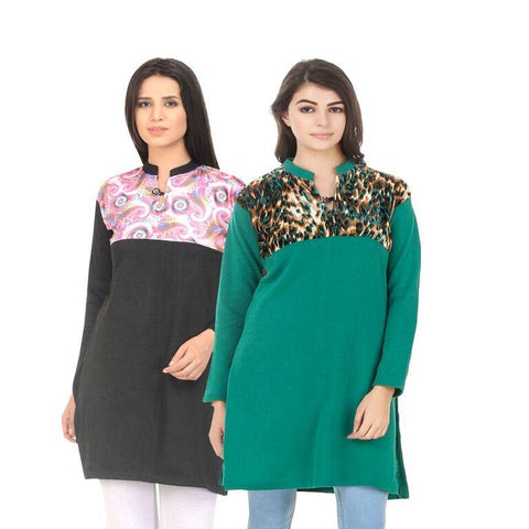 COMBOS-Multi Color Wool Stiched Kurtis - HKURTI-BLACK-GREN