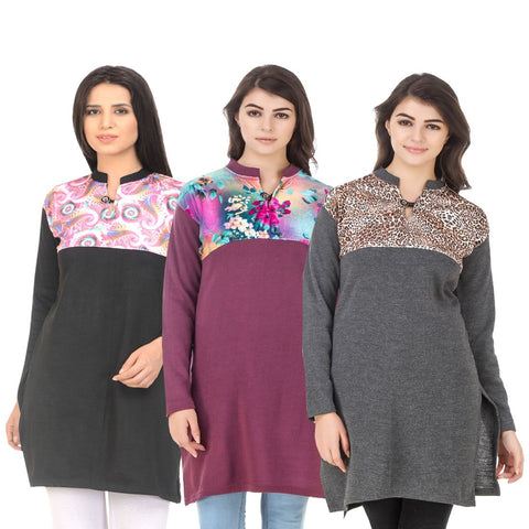 COMBOS-Multi Color Wool Stitched Kurtis - HKURTI-BLACK-MARON-DGRY