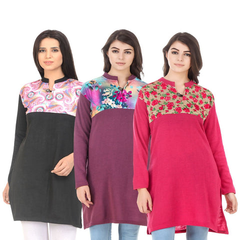 COMBOS-Multi Color Wool Stitched Kurtis - HKURTI-BLACK-MARON-DPINK
