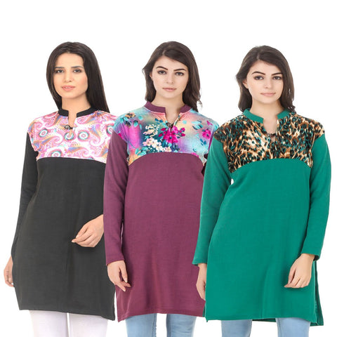 COMBOS-Multi Color Wool Stitched Kurtis - HKURTI-BLACK-MARON-GREN