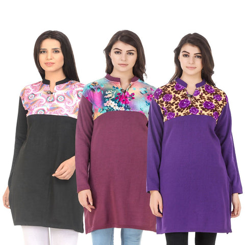COMBOS-Multi Color Wool Stitched Kurtis - HKURTI-BLACK-MARON-PURPLE