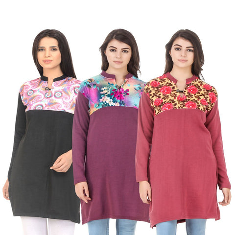COMBOS-Multi Color Wool Stitched Kurtis - HKURTI-BLACK-MARON-RED