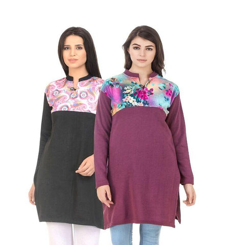 COMBOS-Multi Color Wool Stiched Kurtis - HKURTI-BLACK-MARON