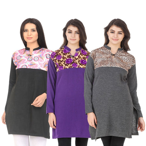 COMBOS-Multi Color Wool Stitched Kurtis - HKURTI-BLACK-PURPLE-DGRY