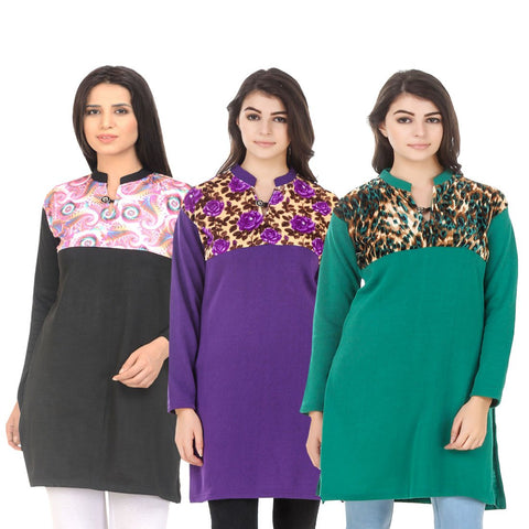 COMBOS-Multi Color Wool Stitched Kurtis - HKURTI-BLACK-PURPLE-GREN