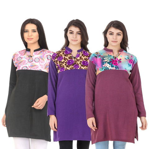 COMBOS-Multi Color Wool Stitched Kurtis - HKURTI-BLACK-PURPLE-MARON