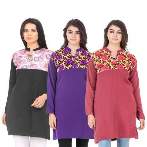 COMBOS-Multi Color Wool Stitched Kurtis - HKURTI-BLACK-PURPLE-RED
