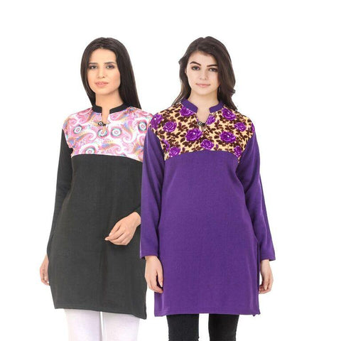 COMBOS-Multi Color Wool Stiched Kurtis - HKURTI-BLACK-PURPLE