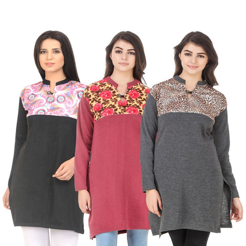 COMBOS-Multi Color Wool Stitched Kurtis - HKURTI-BLACK-RED-DGRY