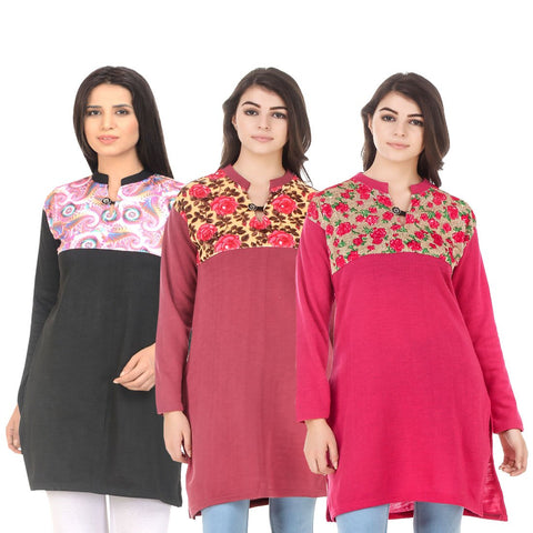 COMBOS-Multi Color Wool Stitched Kurtis - HKURTI-BLACK-RED-DPINK