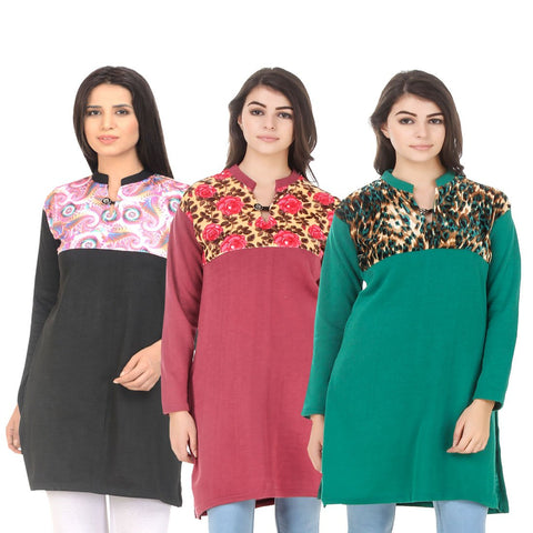COMBOS-Multi Color Wool Stitched Kurtis - HKURTI-BLACK-RED-GREN