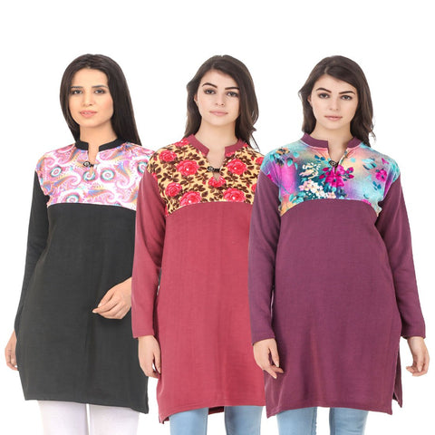 COMBOS-Multi Color Wool Stitched Kurtis - HKURTI-BLACK-RED-MARON
