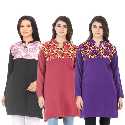 COMBOS-Multi Color Wool Stitched Kurtis - HKURTI-BLACK-RED-PURPLE