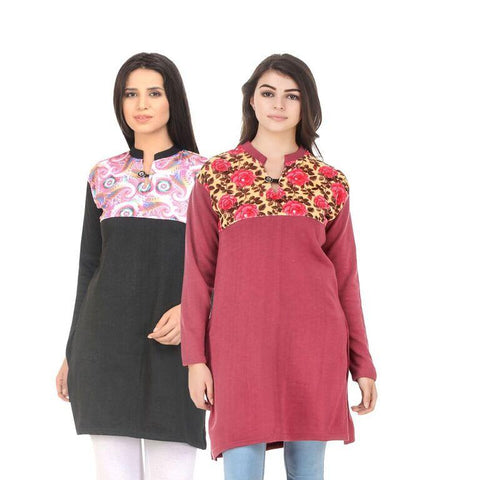 COMBOS-Multi Color Wool Stiched Kurtis - HKURTI-BLACK-RED