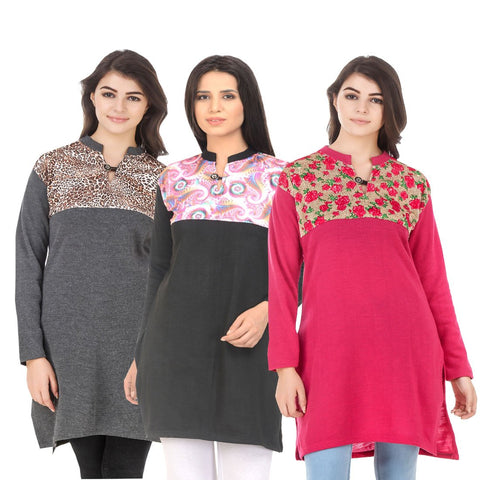 COMBOS-Multi Color Wool Stitched Kurtis - HKURTI-DGRY-BLACK-DPINK