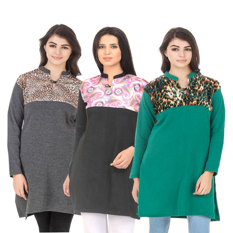 COMBOS-Multi Color Wool Stitched Kurtis - HKURTI-DGRY-BLACK-GREEN