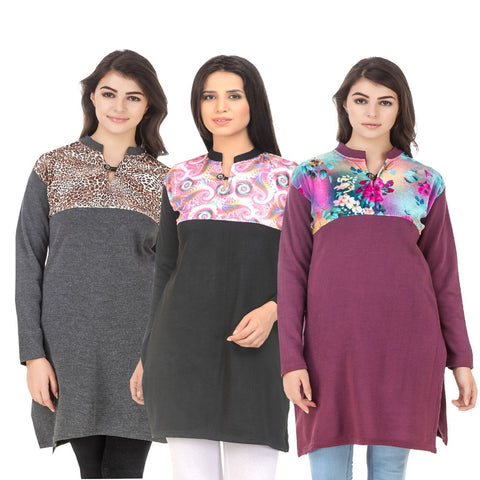 COMBOS-Multi Color Wool Stitched Kurtis - HKURTI-DGRY-BLACK-MARON
