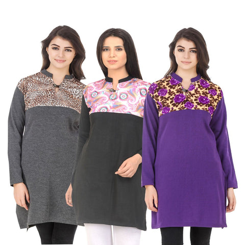 COMBOS-Multi Color Wool Stitched Kurtis - HKURTI-DGRY-BLACK-PURPLE