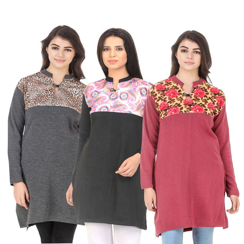 COMBOS-Multi Color Wool Stitched Kurtis - HKURTI-DGRY-BLACK-RED
