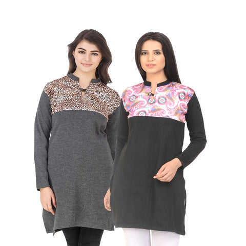 COMBOS-Multi Color Wool Stiched Kurtis - HKURTI-DGRY-BLACK