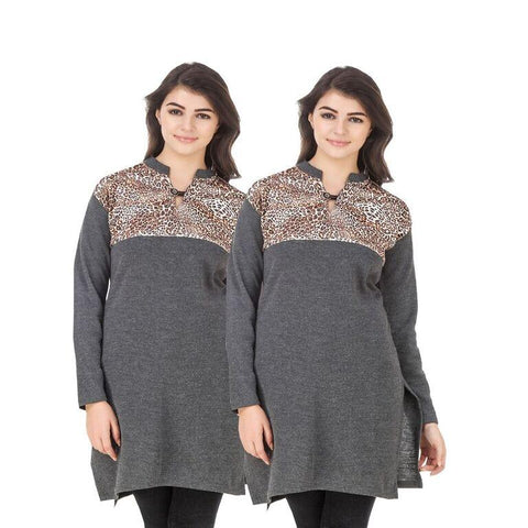 COMBOS-Multi Color Wool Stiched Kurtis - HKURTI-DGRY-DGREY