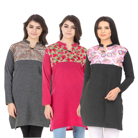 COMBOS-Multi Color Wool Stitched Kurtis - HKURTI-DGRY-DPINK-BLACK