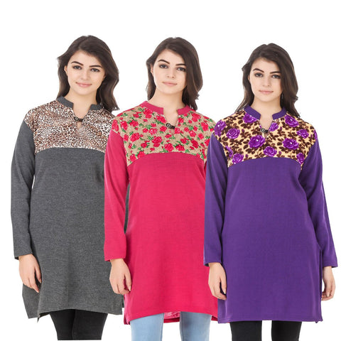 COMBOS-Multi Color Wool Stitched Kurtis - HKURTI-DGRY-DPINK-PURPLE