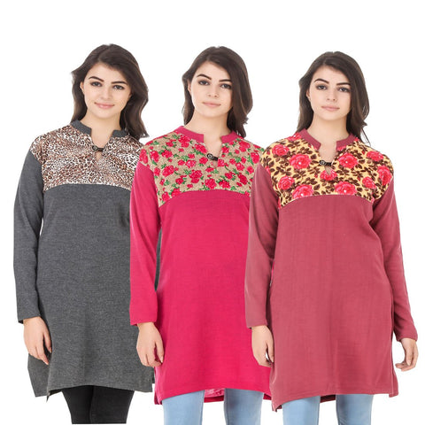 COMBOS-Multi Color Wool Stitched Kurtis - HKURTI-DGRY-DPINK-RED
