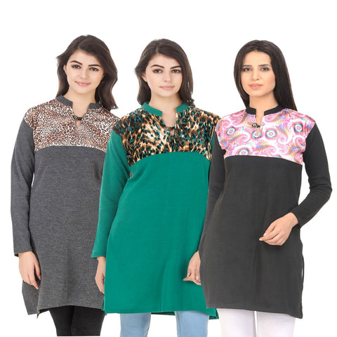 COMBOS-Multi Color Wool Stitched Kurtis - HKURTI-DGRY-GREN-GREN