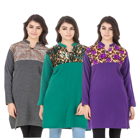 COMBOS-Multi Color Wool Stitched Kurtis - HKURTI-DGRY-GREN-PURPLE