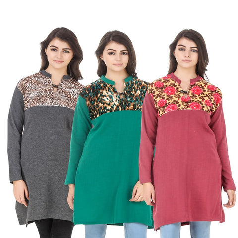 COMBOS-Multi Color Wool Stitched Kurtis - HKURTI-DGRY-GREN-RED
