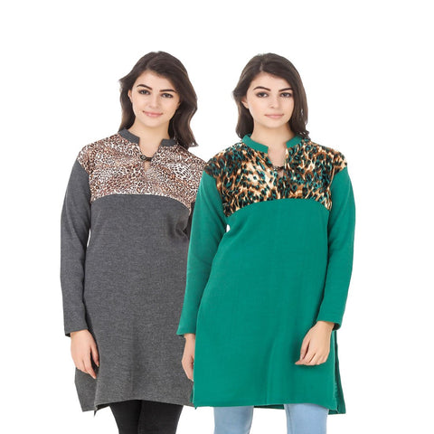 COMBOS-Multi Color Wool Stiched Kurtis - HKURTI-DGRY-GREN
