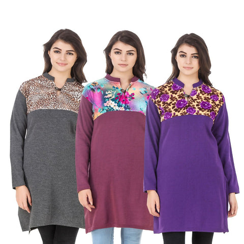 COMBOS-Multi Color Wool Stitched Kurtis - HKURTI-DGRY-MARON-PURPLE