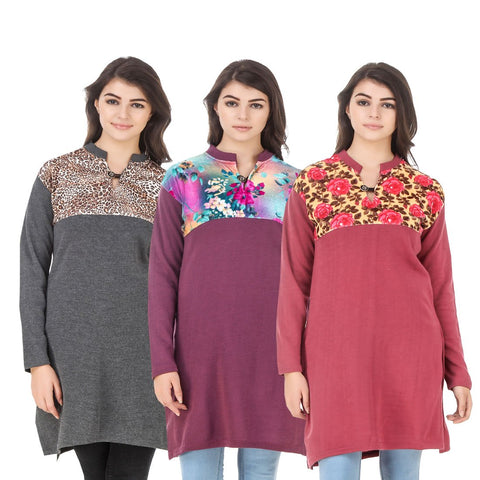 COMBOS-Multi Color Wool Stitched Kurtis - HKURTI-DGRY-MARON-RED