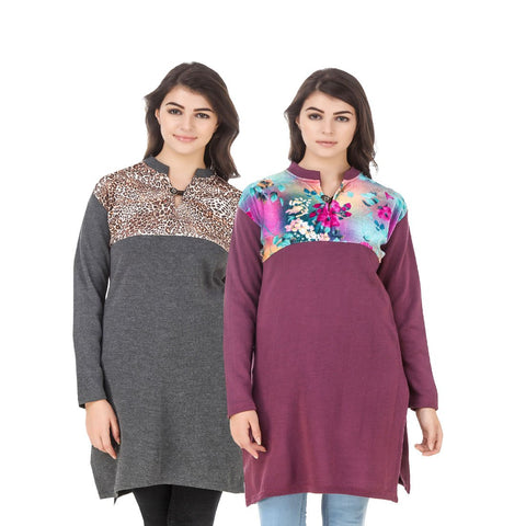 COMBOS-Multi Color Wool Stiched Kurtis - HKURTI-DGRY-MARON