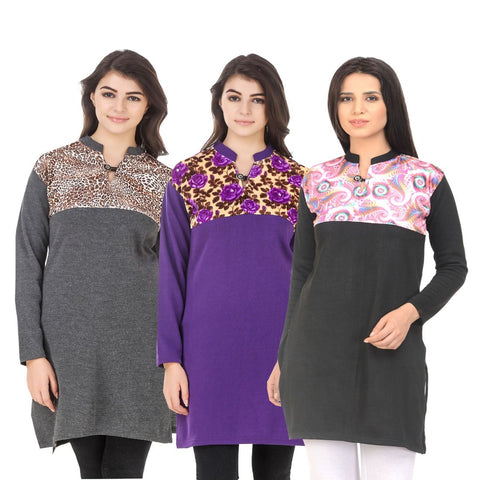 COMBOS-Multi Color Wool Stitched Kurtis - HKURTI-DGRY-PURPLE-BLACK