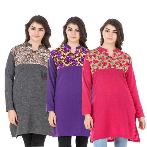 COMBOS-Multi Color Wool Stitched Kurtis - HKURTI-DGRY-PURPLE-DPINK