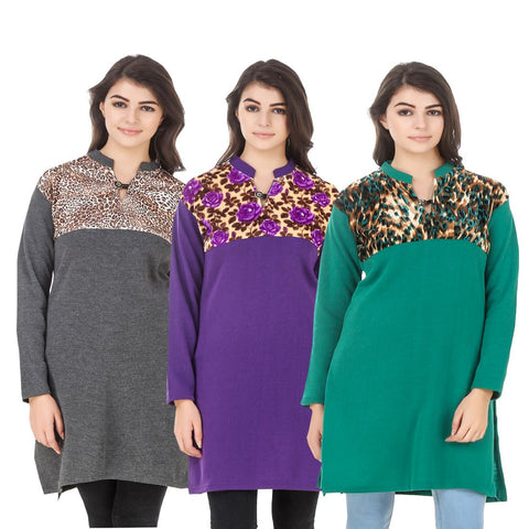 COMBOS-Multi Color Wool Stitched Kurtis - HKURTI-DGRY-PURPLE-GREN