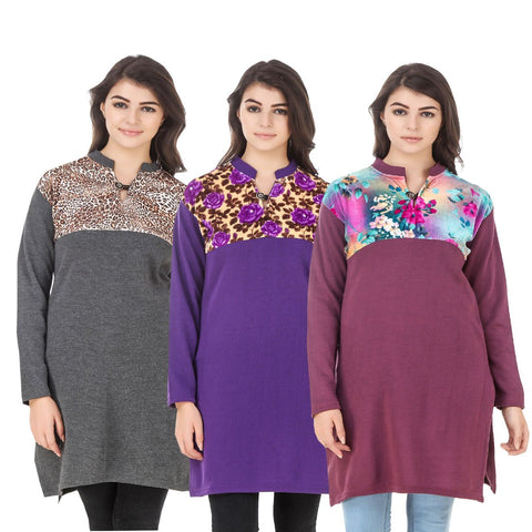 COMBOS-Multi Color Wool Stitched Kurtis - HKURTI-DGRY-PURPLE-MARON