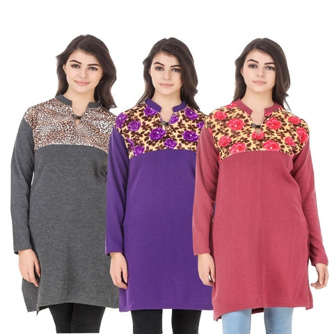 COMBOS-Multi Color Wool Stitched Kurtis - HKURTI-DGRY-PURPLE-RED